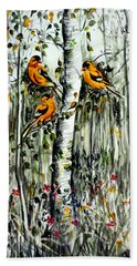 Gold Finches Hand Towel