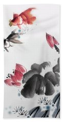 Gold Fish In Lotus Pond Hand Towel by Yufeng Wang