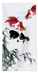 Bath Towel featuring the painting Gold Fish by Yufeng Wang