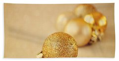 Gold Glittery Christmas Baubles Bath Towel