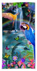 Golden Bluebirds Paradise Version 2 Bath Towel