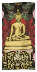 Golden Buddha In The Garden Bath Towel