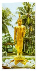 Golden Buddha On A Lotus Flower Hand Towel