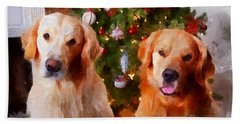 Golden Christmas Hand Towel by Claire Bull