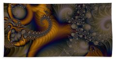 Hand Towel featuring the digital art Golden Dream Of Fossils by Elizabeth McTaggart
