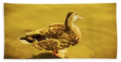Hand Towel featuring the photograph Golden Duck by Nicola Nobile
