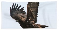 Bath Towel featuring the photograph Golden Eagle Takes Off by Bill Gabbert
