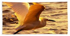 Golden Egret Bird Nature Fine Photography Yellow Orange Print  Bath Towel by Jerry Cowart