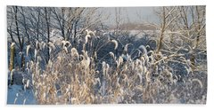 Sun On Golden Foxtail Grass In The Snow Hand Towel