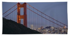 Golden Gate Bridge At Dusk Hand Towel