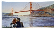 Golden Gate Bridge San Francisco - Two Love Birds Bath Towel