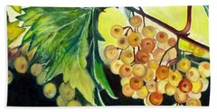 Bath Towel featuring the painting Golden Grapes by Julie Brugh Riffey