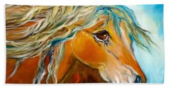 Hand Towel featuring the painting Golden Horse by Jenny Lee