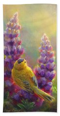 Golden Light 1 Wilsons Warbler And Lupine Bath Towel