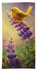 Golden Light 2 Wilsons Warbler And Lupine Bath Towel