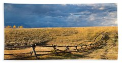 Golden Light On A Stormy Prairie Bath Towel