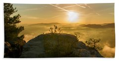 Golden Morning On The Lilienstein Bath Towel