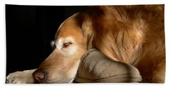 Golden Retriever Dog With Master's Slipper Hand Towel by Jennie Marie Schell