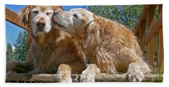 Golden Retriever Dogs The Kiss Bath Towel