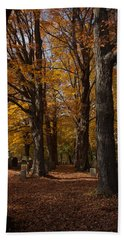 Hand Towel featuring the photograph Golden Rows Of Maples Guide The Way by Jeff Folger