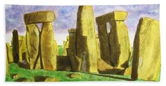 Golden Stonehenge Bath Towel