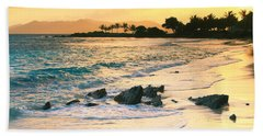 Golden Sunrise On Sapphire Beach Hand Towel by Roupen  Baker