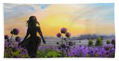 Hand Towel featuring the painting Golden Surrender by Vesna Martinjak