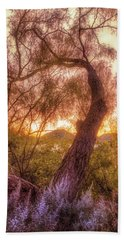 Golden Tree At The Quartz Mountains - Oklahoma Bath Towel