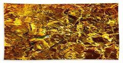 Golden Water Abstract. Feng Shui Bath Towel