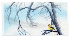 Bath Towel featuring the painting Goldfinch In Tree by C Sitton