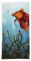 Hand Towel featuring the painting Goldfish by Jolanta Anna Karolska