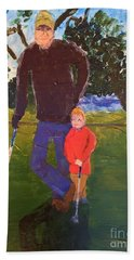 Bath Towel featuring the painting Golfing by Donald J Ryker III
