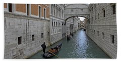 Gondolas Under Bridge Of Sighs Hand Towel