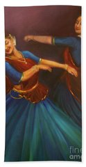 Gopis Dancing To The Flute Of Krishna Hand Towel