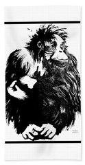 Bath Towel featuring the drawing Gorilla Ina Box by Paul Davenport