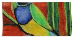 Bath Towel featuring the painting Gouldian Finch by Jeanne Fischer