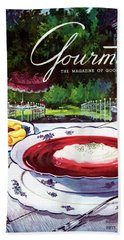 Gourmet Cover Featuring A Bowl Of Borsch Bath Towel