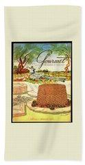 Gourmet Cover Featuring A Buffet Farm Scene Bath Towel