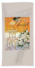 Gourmet Cover Featuring A Pyramid Of Champagne Bath Towel