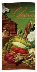 Gourmet Cover Featuring A Variety Of Vegetables Bath Towel