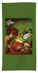 Gourmet Cover Featuring A Variety Of Vegetables Hand Towel by Henry Stahlhut