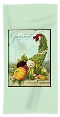 Gourmet Cover Illustration Of A Cornucopia Bath Towel