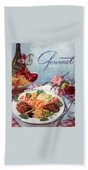 Gourmet Cover Illustration Of A Plate Of Antipasto Bath Towel