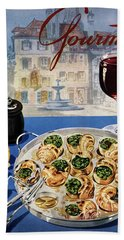 Gourmet Cover Illustration Of A Platter Hand Towel
