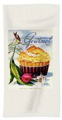 Gourmet Cover Illustration Of A Souffle And Tulip Bath Towel