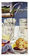 Gourmet Cover Illustration Of Cranberry Muffins Bath Towel