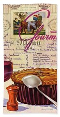 Gourmet Cover Illustration Of Deep Dish Pie Bath Towel