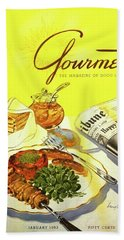 Gourmet Cover Illustration Of Grilled Breakfast Bath Towel