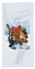 Gourmet Cover Illustration Of Holiday Fruit Basket Hand Towel
