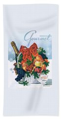 Gourmet Cover Illustration Of Holiday Fruit Basket Bath Towel